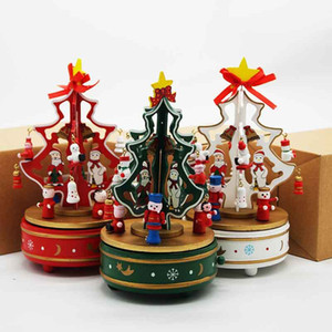 Christmas creative gifts carving and decoration wooden hand rotating Christmas tree music box