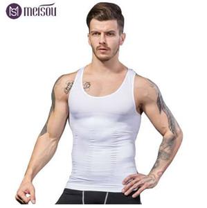 Meisou Hot Minceur Mâle Gilet Body Shaper Hommes T-shirt Abdomen Graisse Réduire Compression Noir Blanc Bleu Shapewear Fitness Vêtements