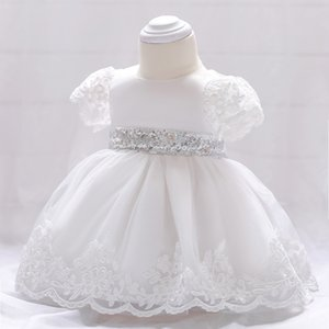Classical Infant baptism dress Sequined belt bow princess dress Short sleeved embroidered lace white dress baptism dresses for birthday