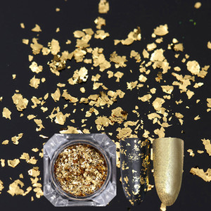 Gold Sier Nail Glitter Lentejuelas Irregular Nail Flakies Paillette Polvo Manicura Copos Decoración
