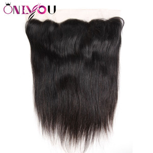 Brazilian Virgin Hair Extensions Straight 13x4 Ear to Ear Lace Frontal Silky Straight Top Remy Hair Closure suited with Human Hair Bundles