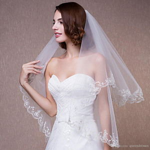 Cheap In Stock Elbow Length 2 Layers Bridal Veil With Lace Applique Tulle Wedding Veils Ivory White for Wedding Events Online