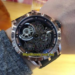 Роскошный новый Excalibur 46 RDDBEX0615 скелет циферблат двойной турбийон Япония Miyota автоматические мужские часы розовое золото корпус каучуковый ремешок часы