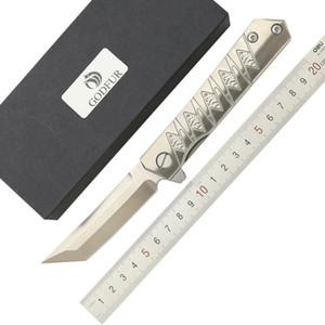 ST-202 جديد وصول d2 بليد التيتانيوم مقبض زعنفة الطي سكين التخييم الصيد الدفاع الذاتي سكين جيب سكاكين الفاكهة أدوات edc