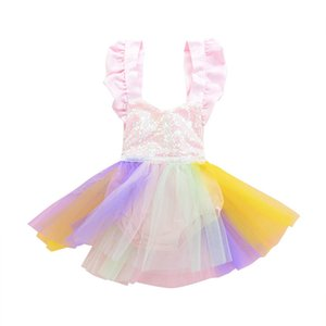 Baby Sequins mameluco Sling TuTu arco iris Net hilado Jumpsuits 2018 nuevos niños de verano de encaje Escalada ropa C3591