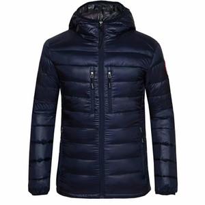 Spedizione gratuita New Canadian Fashion Sports Brand Uomo 100% Piumino d'oca sottile di alta qualità Warm Jacket Hooded Casual Cotton Coat Outfit