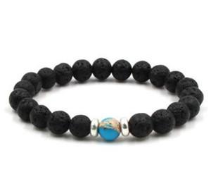 8 mm Lava Stone Mala Essential Oil Diffuser Protection Energy Healing Stretch Bracelet DIY Jewelry Men Women Stretch Yoga Handmade Bracelets