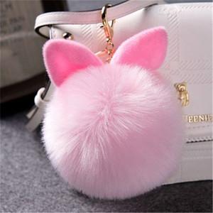 Sevimli kabarık kürk topu anahtarlıklar çanta için tavşan kulak topu kolye Telefon tavşan bunny peluş anahtarlık Anahtarlık süsler saç top anahtarlık