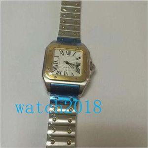 Calidad superior de lujo del reloj de oro amarillo de 18 Galbee y acero XL reloj de los hombres de 45 mm x 32 mm para hombre relojes automáticos del reloj