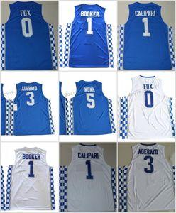 كنتاكي وايلد كاتس كرة السلة جيرزي 0 De'Aaron Fox 5 Malik Monk 3 إدريس أديبايو 1 مدرب جون كاليباري قميص جامعة جيرسي