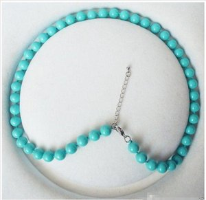Wholesale - 8mm round turquoise blue color shell pearl fashion necklace 18&039;&039;