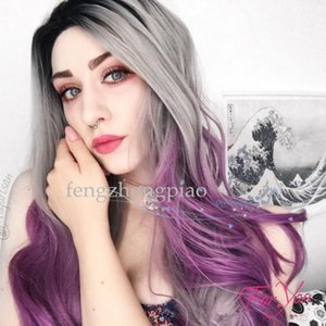 Moda sexy onda larga peluca sintética de la señora peluca de las mujeres pelucas 330 g 26 pulgadas Ombre colorido negro + gris + púrpura para niñas