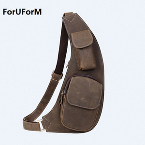 ForUForM 2017 Homens Sling Messenger Bags Cross body bag Saco de peito de couro de couro marrom pacotes de peito