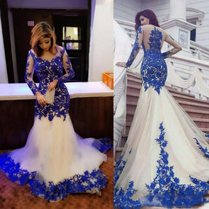 2019 arabe sirène formelle robes de soirée avec dentelle Appliques pure manches longues de bal robes de soirée plus la taille célébrité soirée wear