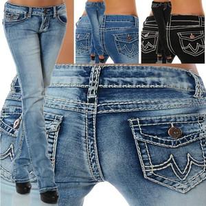 2018 Women's Fashion Jeans Low Waist Pants Stretch Straight Denim Jeans for Lady Slim Fit Long Pants