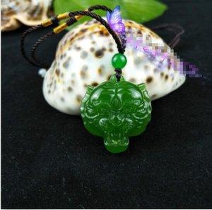 Pendente della collana della tigre di giada naturale Moda Amuleto fortunato scolpito a mano cinese B2