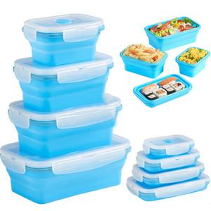 Contenitori per alimenti pieghevoli con coperchi Scatole per il pranzo Forno a microonde Frigorifero Freezer Box Stoviglie 350/500 / 1200ML 4 pz / set WX9-889