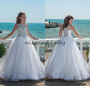 2018 Glitz Beaded Crystal Girls Pageant Dresses for Teens Tulle Floor Length Beach Flower Girl Dresses for Weddings Custom Made