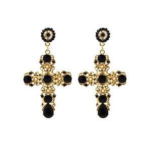Donna Vintage Baroque Style Luxury Crystal Golden Cross Large Long Ciondola gioielli con orecchini