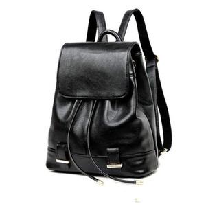 Schwarz Leder Rucksack Frauen Kordelzug Schultasche Für Mädchen 2017 Mode Solide Softback Rucksäcke Marke mochila mujer