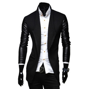 Wholesale- 2017 New Arrival Mens Long Trench Coat The Sleeves Is Leather Slim Fit Style Trench Coat Men Plus Size M-XXL
