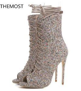 2018 nuevas mujeres botas de cuero con lentejuelas zapatos de fiesta botines de tacón alto bling bling botas botas de oro damas con cordones botas