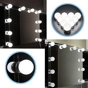 Juego de luces LED estilo Hollywood con espejo de vanidad con bombillas regulables, tira de accesorio de iluminación para maquillaje Juego de mesa de vanidad