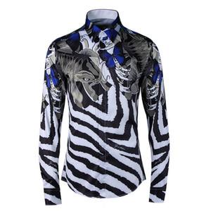 Alta calidad Fish and stripe impresión digital camisas de los hombres 2018 Otoño Europa Nuevas camisas Slim fit ropa de los hombres más tamaño M-4XL