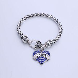 Nuovo arrivo di vendita caldo placcato rodio con cristalli scintillanti DANCE cuore pendent braccialetto di fascino collegamento catena di grano trasporto di goccia