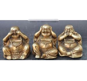 Dettagli sul buddismo cinese Ottone ricchezza fortunato 3 diverse emozioni Maitreya statua del Buddha