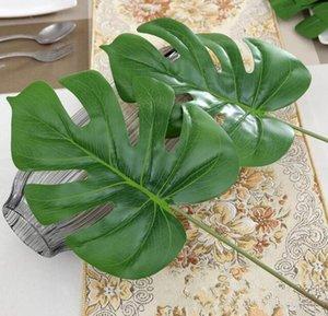 Nouveau design 15pcs arbre Vivid plastique artificielle Palm plantes verdure feuilles Monstera flores Accueil décoration de mariage plante faux feuilles fleurs