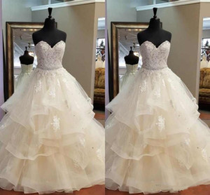 Muhteşem A-Line Ruffles Gelinlik Sevgiliye Kristal Boncuklu Kanat Güzel Gelin Elbise Gerçek Resimler Düğün Parti Giymek