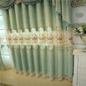 European luxury luxury hollow chenille living room luxury water soluble embroidery flower curtain custom curtain