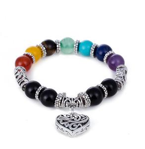 Pulseras de piedra natural Slver Chakra Rainbow Healing Balance Energy Beads Charm Heart Bracelet para Hombres Mujeres Yoga Jewelry Christmas Gift