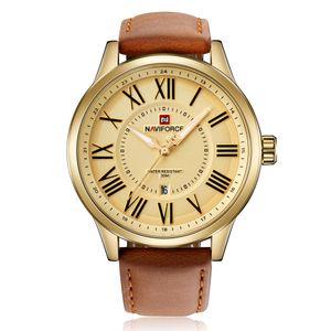 NAVIFORCE Original Gute Qualität Herren Analog Quarz Wasserdicht Sport Leder Band Datum Armbanduhr 9126