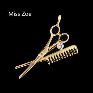 Mlle Zoe Ciseaux Combs Broche fine Ardillon Collier rétro vintage insigne or cadeau argent pour les femmes et les hommes en gros