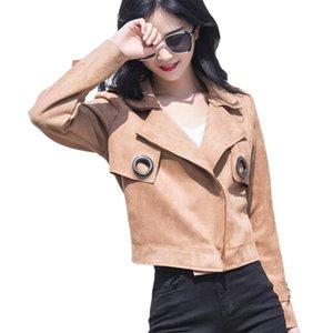 VogorSean Primavera Outfit Mulher Mulher Casaco Curto Casaco 2018 Versão Coreana Moda Escritório Casacos Da Mulher Jaqueta Rosa / branco / amarelo