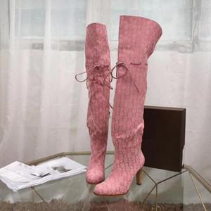Chic Branded Femmes Hibiscus Rouge Beige Toile Over-the-genou Boot Designer Bottes en cuir à talon