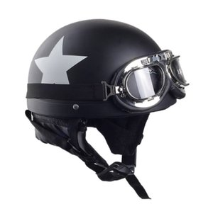 Black Adult Motorcycle Scooter Open Face Half ABS Helmet with Harley Pilot Goggles Retro Vintage Style 54-59cm Motorbike Helmets