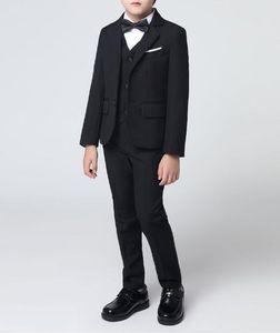 Пользовательские моды новый сплошной цвет костюм мальчика из трех частей костюм (куртка + брюки + жилет) мальчик танцевальная вечеринка выпускной вечер вечернее платье