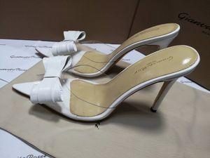 Gianvito Rossi White Sliver Black Bowtie Ladies Summer Mules Scarpe con tacco alto Abito femminile Wedding Party PVC Sandali Pantofole Donna Zapatos