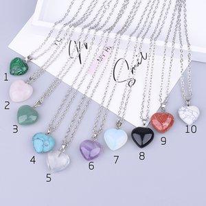 Cheap Natural stone Heart Love Shape Collana pendente turchese opal druzy drusy con catena in acciaio inox da 50cm