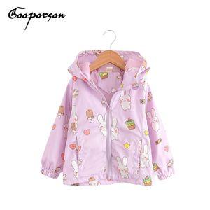 GOOPORSON девушки осень куртка Cartton Кролик с длинным рукавом с капюшоном пальто тонкий ветер пальто девочка куртка дети толстовка верхняя одежда