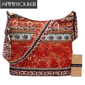 Annmouler moda mujer bandolera estilo bohemio Hippie Hobo Bag doble cremallera honda Crossbody Messenger grande