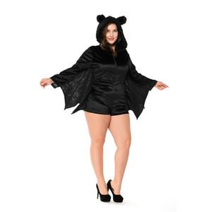 Halloween Plus Size Cosplay Bat Fancy Dress 50% Preto da pele do falso vampiro Tema Costume Mulheres Jogo Uniforme COS Stage Wear