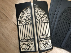 50pcs Delicate Black Gate Design Romanticn Laser Cut Invitation Cards for Wedding Business Party Birthday,Wedding Invitations free shipping