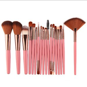 18Pcs Makeup Brushes Set Kit Power Foundation Blush Eye Shadow Eyelash Eyeliner Lip Blending Fan Cosmetic Tools