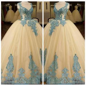 2018 Sheer Lake Blue Lace Appliques Avorio Ball Gown Abiti da sposa senza maniche arabo Abiti da sposa Custom Online Vestidos De Mariage