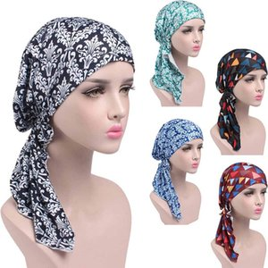 Women Printed Cancer Chemo Cotton Turban Headwear Casual Adjusted Ruffles Bandanas Muslim Headscarf Multicolor 2018 Hot