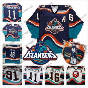 Personnalisé New York Islanders Fisherman # 16 Ziggy Palffy 91 Tavares 11 Darius Kasparaitis Hockey Vintage N'importe quel Numéro Nom Bleu Blanc Jersey 4XL